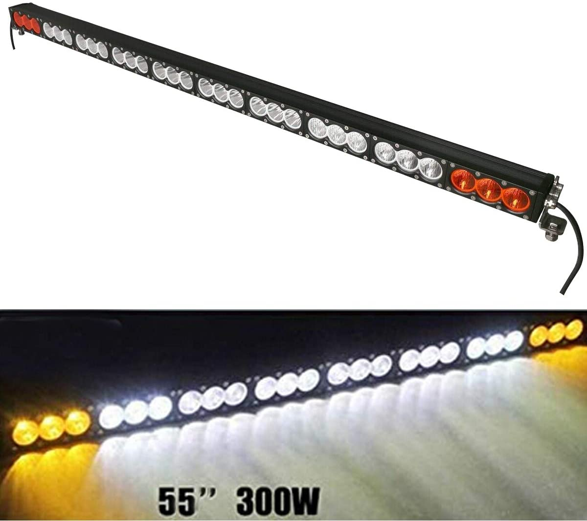Lightronic 55 Inch 300W Super Bright Driving/Combo Beam Amber/White CREE Off-Road Single Row LED Light Bar for Driving in Fog Rain Snow & Dust, IP69 Waterproof Rating, 1-Piece