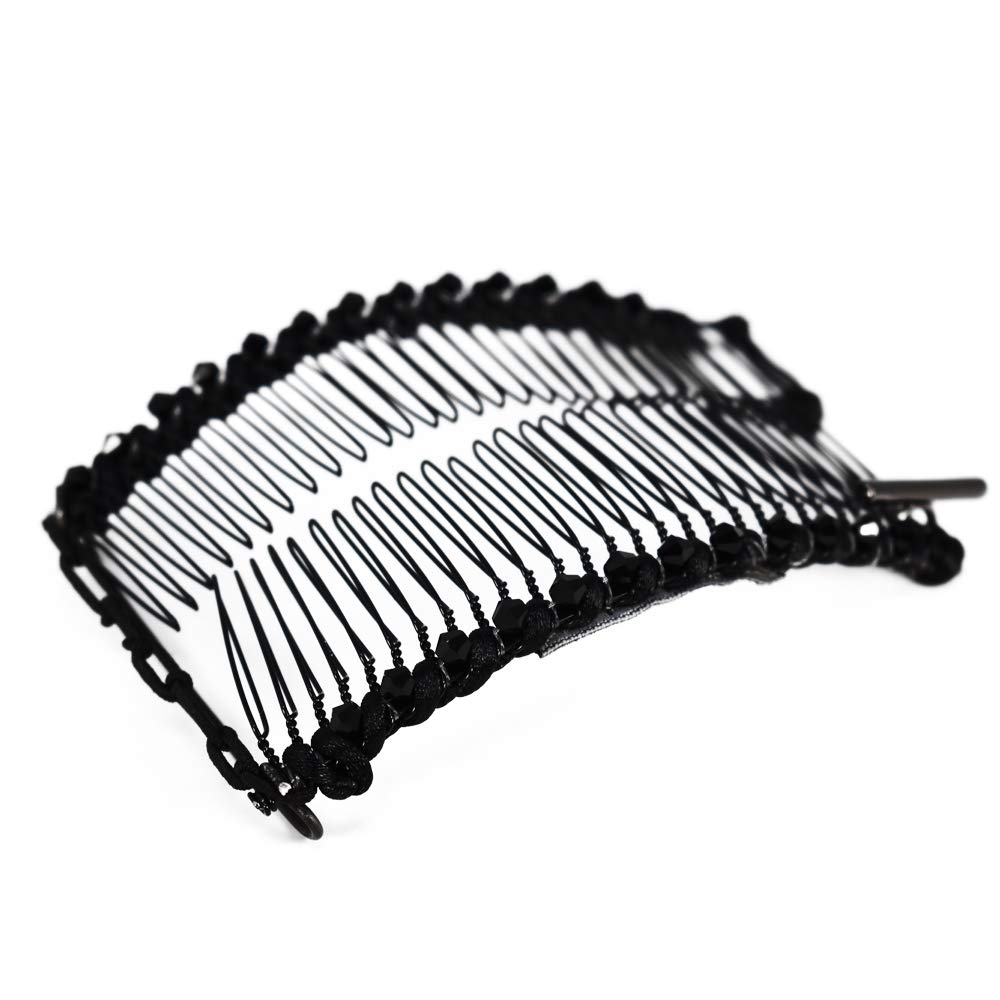 Banana Clip for Fine Thin & Short Hair Stretch & Adjust w/Bar Closure - Decorative, Sturdy Hair Clamp Holds Snug, Adds Volume, No Pressure or Breakage (Black Satin Cord & Shimmering Glass Beads)