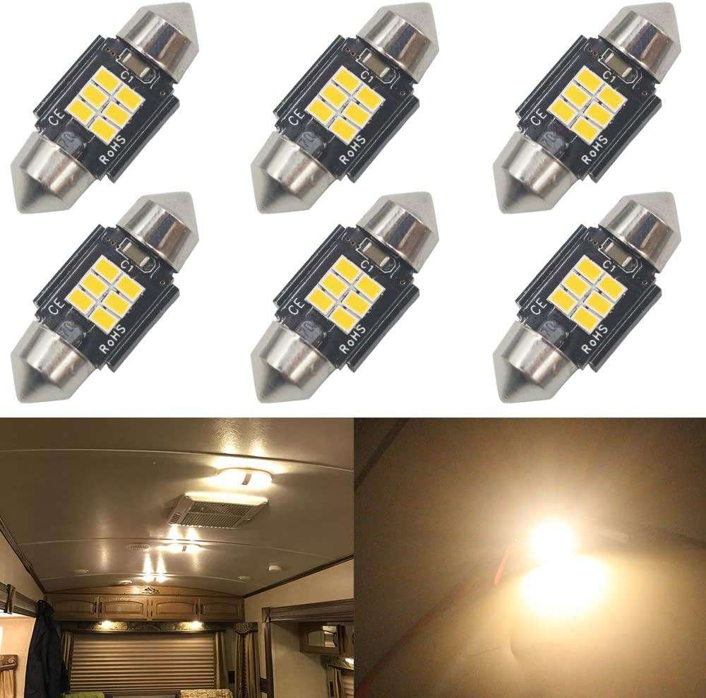 "Qoope - Pack of 6 - Xenon 31MM 1.22""Warm White Extremely Bright 400Lums - Non-Polarity Canbus Error Free 3020 6SMD LED Festoon Bulbs for DE3175 DE3021 DE3022 3175 6428 Interior Car Lights"