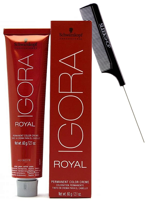Schwarzköpf The Original IGORA ROYAL Permanent Hair Color Creme (w/Sleek Steel Pin Rat Tail Comb) Cream Haircolor Dye (E-1 Cendre Extract)