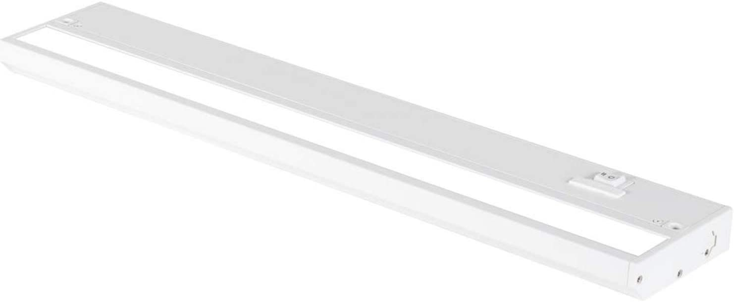 18 Inch White LED Under Cabinet Lighting – Dimmable -3 Color Temperature Slide Switch – Warm White (2700K), Soft White (3000K), Cool White (4000K) - Plugged-in or Hardwired Installation by Magic Lite