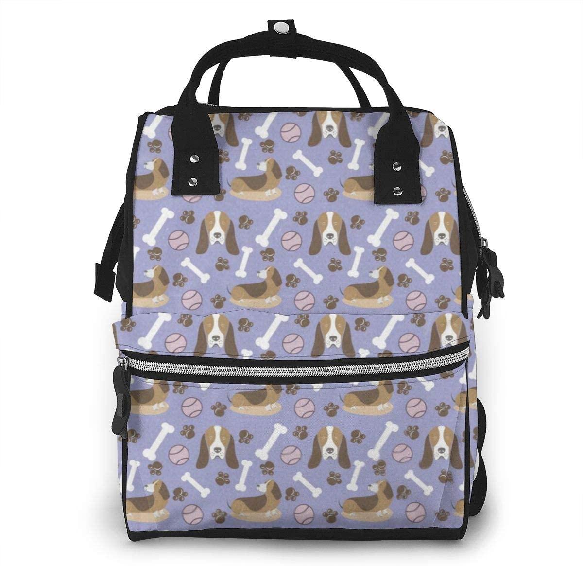 NiYoung Women Casual Zippers Large Capacity Backpack Mummy Bag Swim Diapers,Baseball Bone Basset Hound Puppy Pattern