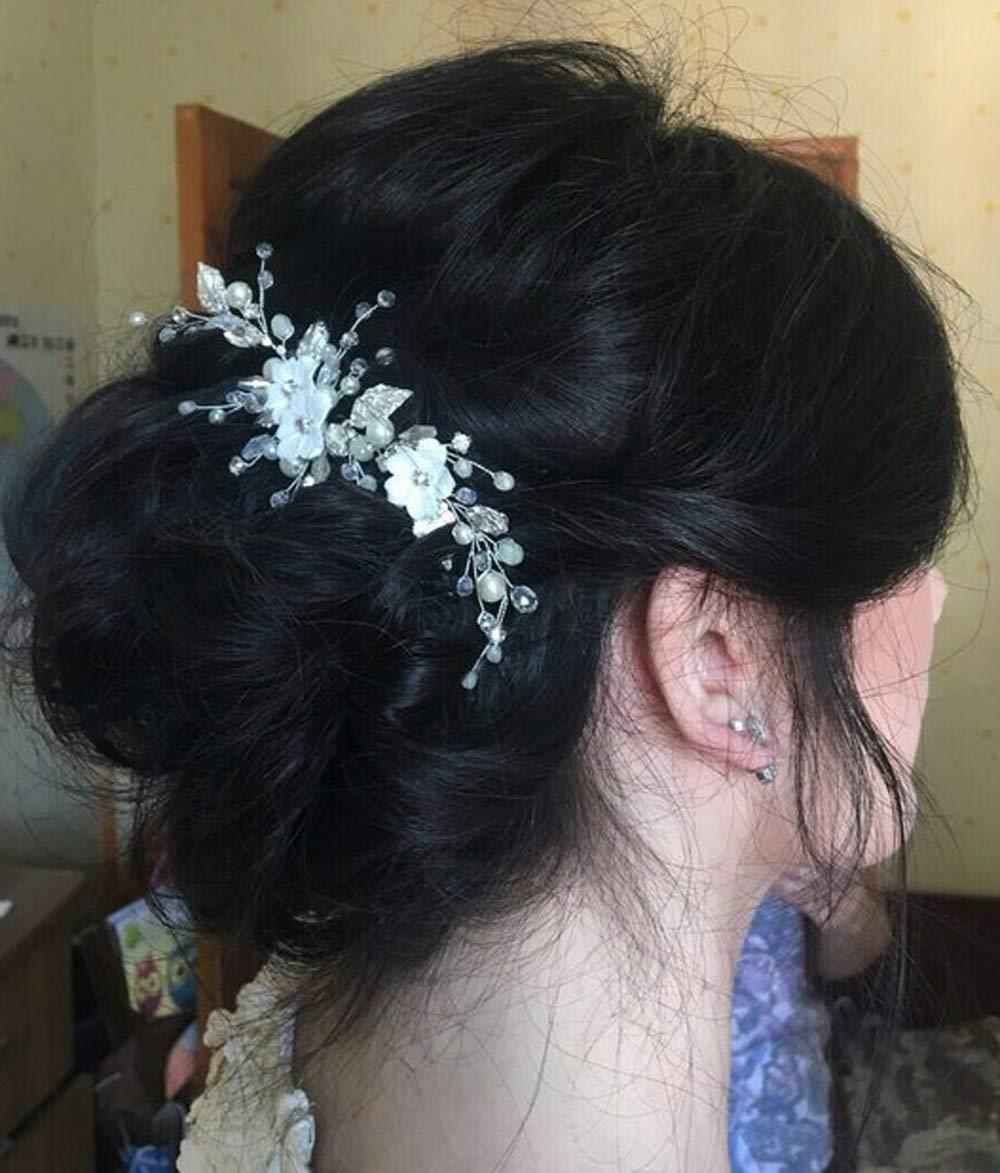 Deniferymakeup Comb Bridal Hair Comb Flower Hair Comb Crystal Hair Piece Wedding Hair Accessories Wedding Crown Bridesmaids Clip Floral Headpiece Bridal Tiara Pearl Jewelry Rhinestone Comb (Silver)