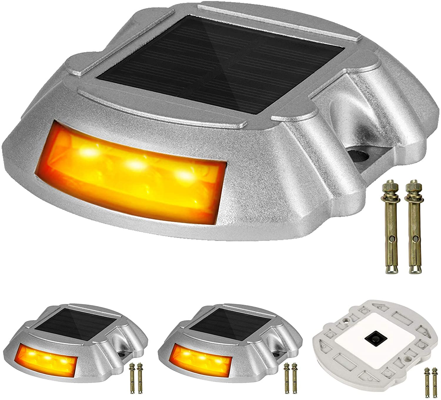 Happybuy Driveway Lights, Solar Driveway Lights, 6 LEDs Waterproof Wireless Dock Lights, 4-Pack