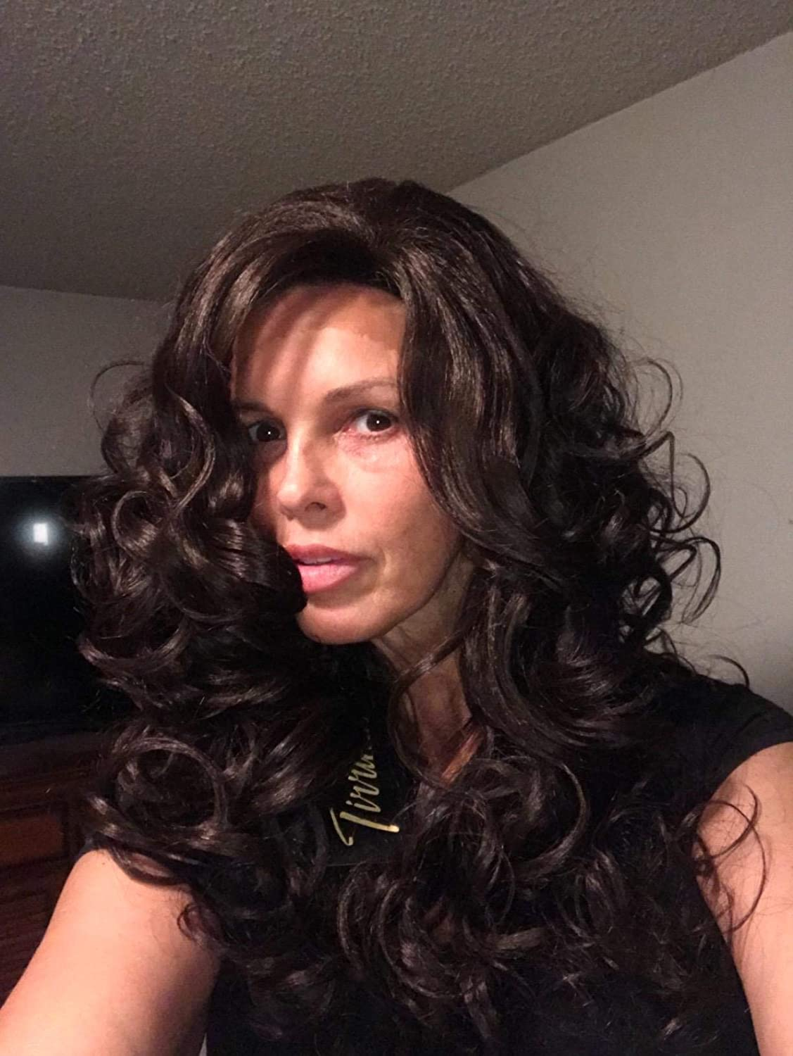 Brazilian Body Wave Lace Front Wig,Natural Looking Synthetic Fiber Curly Long Hair Wig for Black Women African American Beauty 19 Inch Brown