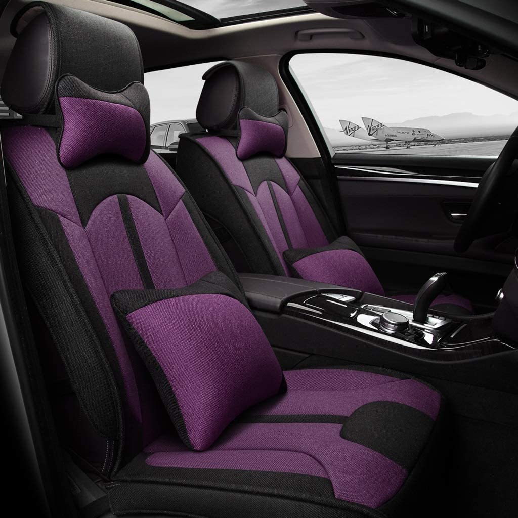 YUYE Flax Car Seat Cover Comfortable and Breathable fit Five Seats Car Four Seasons use (Color : Purple, Edition : Luxury)