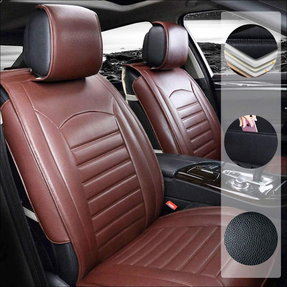 Car Seat Cover for Audi S3 S4 S5 RS3 RS4 RS6 TT e-tron 5-Seats Protection Soft Waterproof Full Set PU Leather Car Front+Rear Seat Pads Brown Standard 5PCS