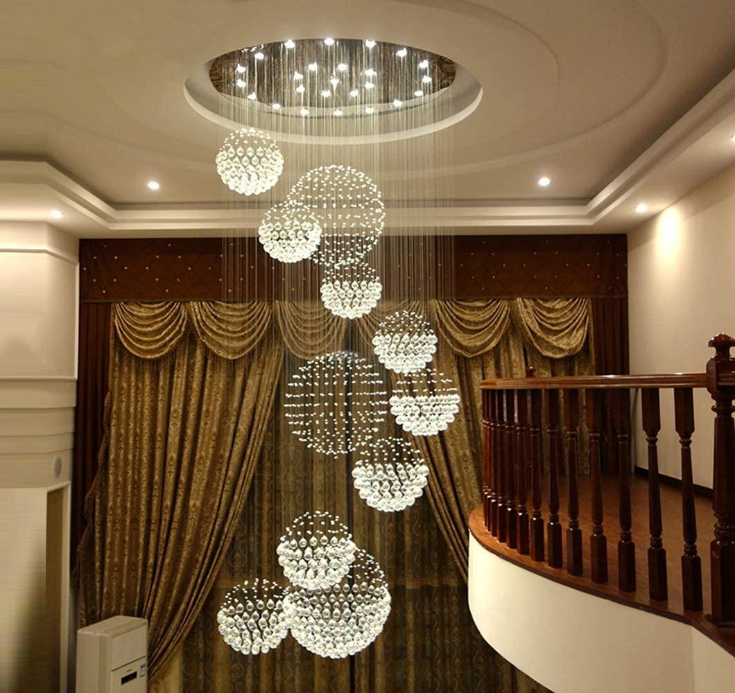 SILJOY Modern Spiral Staircase Crystal Chandelier Lighting Raindrop 11 Spheres Chandelier Large LED Flush Mount Ceiling Light Fixture for Foyer Stairwell Hall D 40