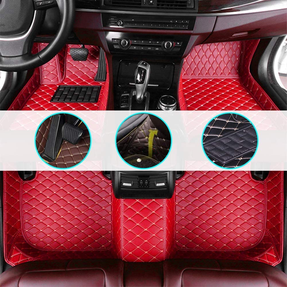 changlaiwang Car Floor Mats for Chevrolet Impala 1996-2001 Can be Customized for 99% of Cars Red Full Set