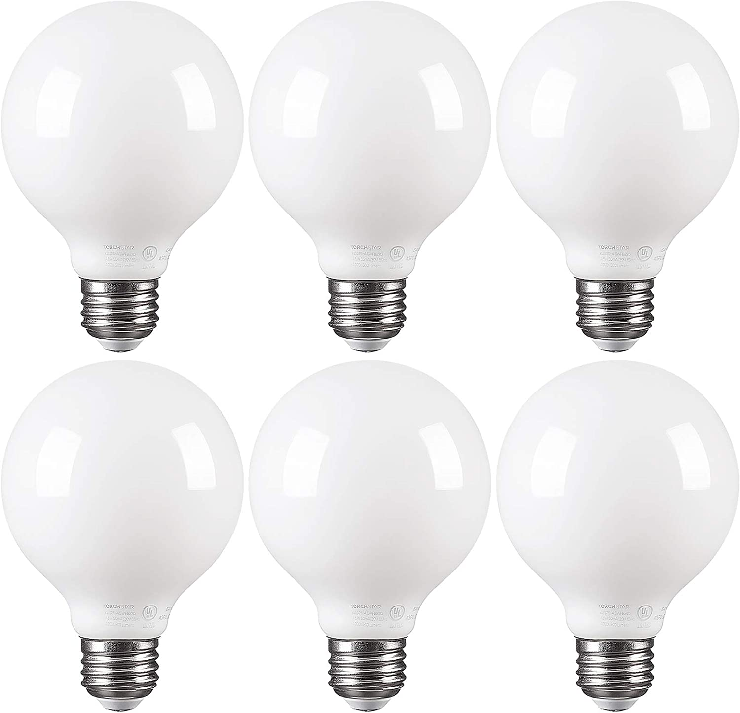 TORCHSTAR LED Dimmable Frosted Filament G25 Light Bulb, 4.5W (60W Eqv.) Omni Directional Lighting Globe Bulb, UL-Listed, 4000K Cool White, 500lm, E26 Base, 2 Years Warranty, Pack of 6
