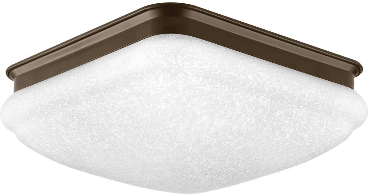 Progress Lighting P350018-020-30 Square Glass FM One-Light LED Flush Mount, Antique Bronze