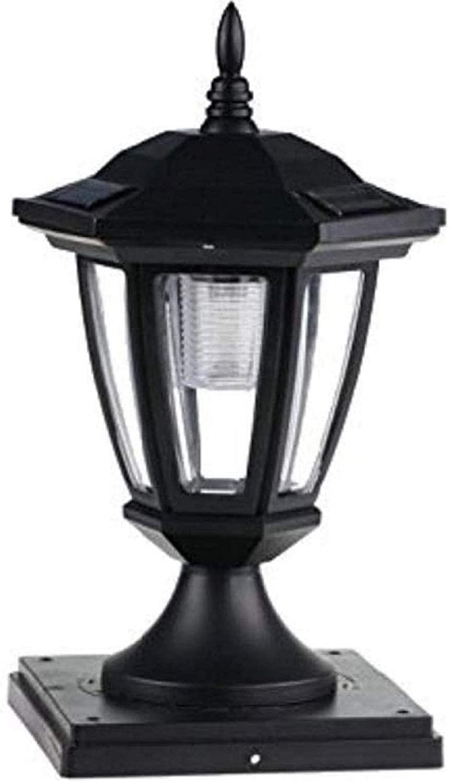 6 Packs Solar Hexagon Cap SMD White LED Light for PVC & Wood Post Black or White Color (Black, 5x5)