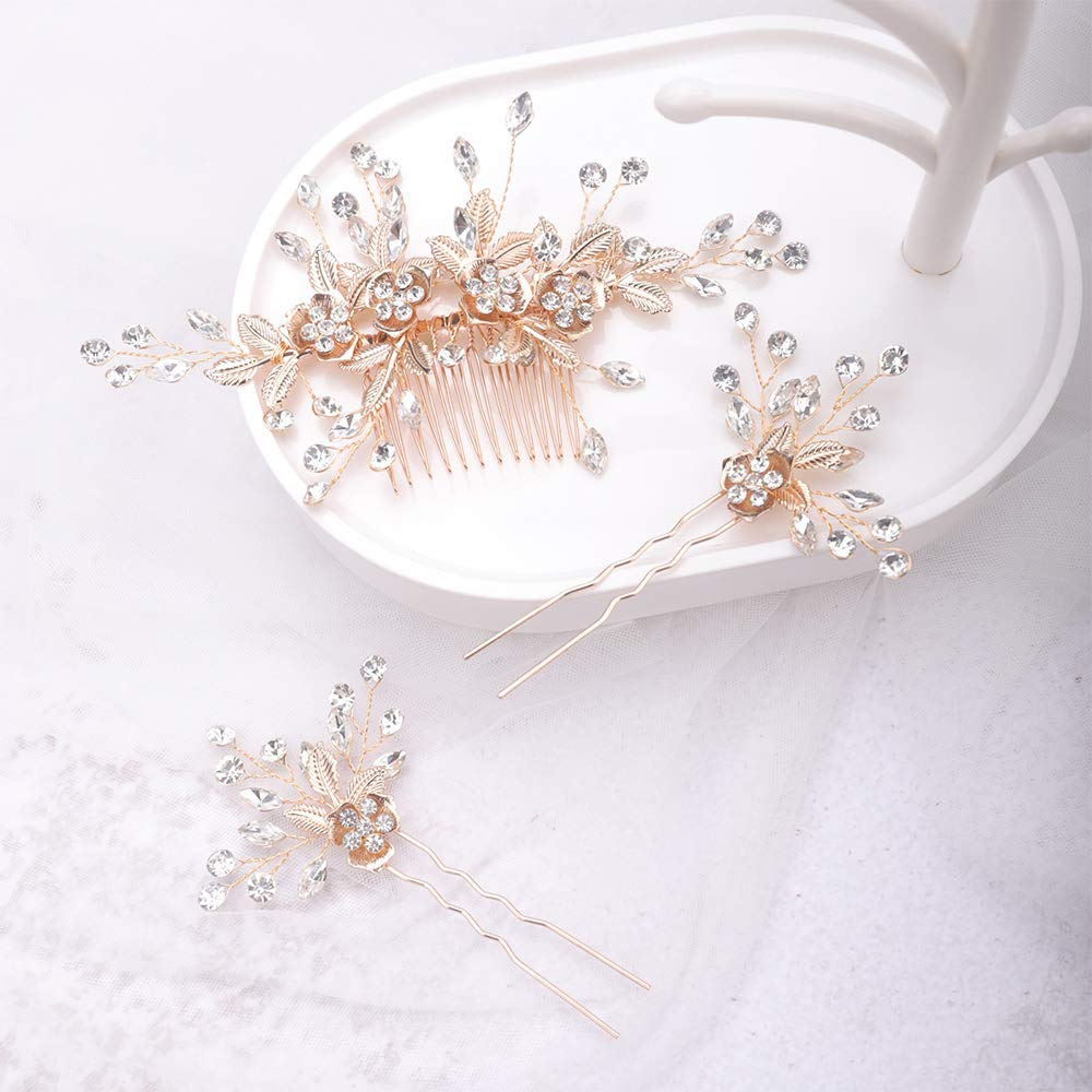Anglacesmade Bridal Hair Comb and Pins Crystal Hair Comb Floral Headpiece Flower and Leaf Side Comb Prom Bridesmaid Hair Jewelry for Women and Girls