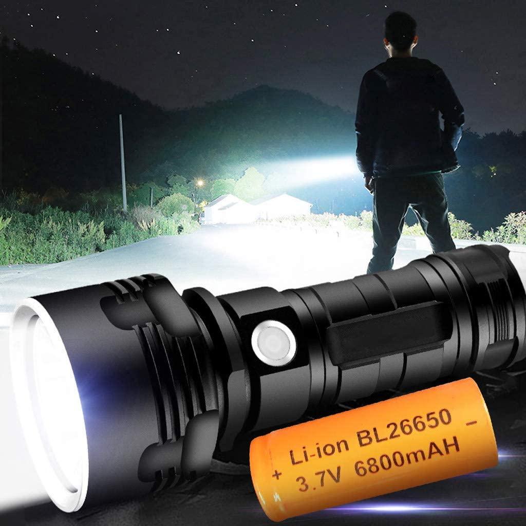 USB Rechargeable Flashlight,Powerful LED Flashlight XHP50 Torch USB Rechargeable Waterproof Lamp Bright (Black)