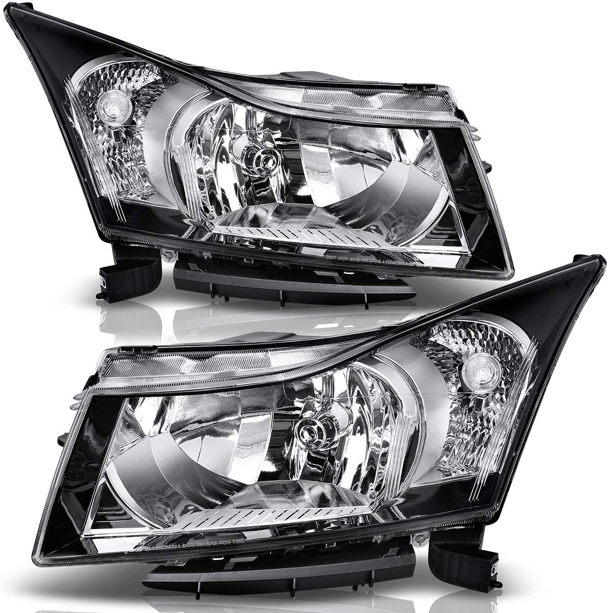 DWVO Headlight Assembly Compatible with 2011-2015 Chevy Cruze,Black Housing Clear Lens