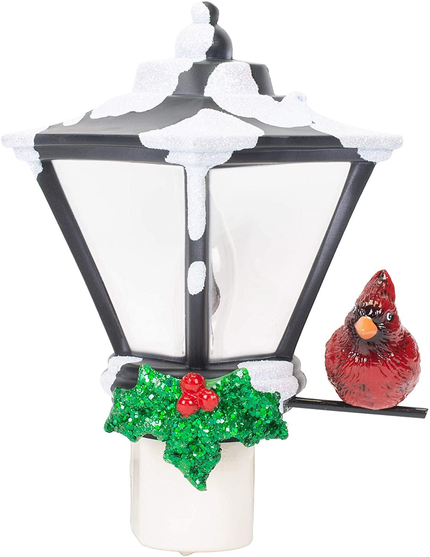 Snow Capped Lantern Cardinal C7 Bulb 6 Inch Acrylic Decorative Flickering Night Light