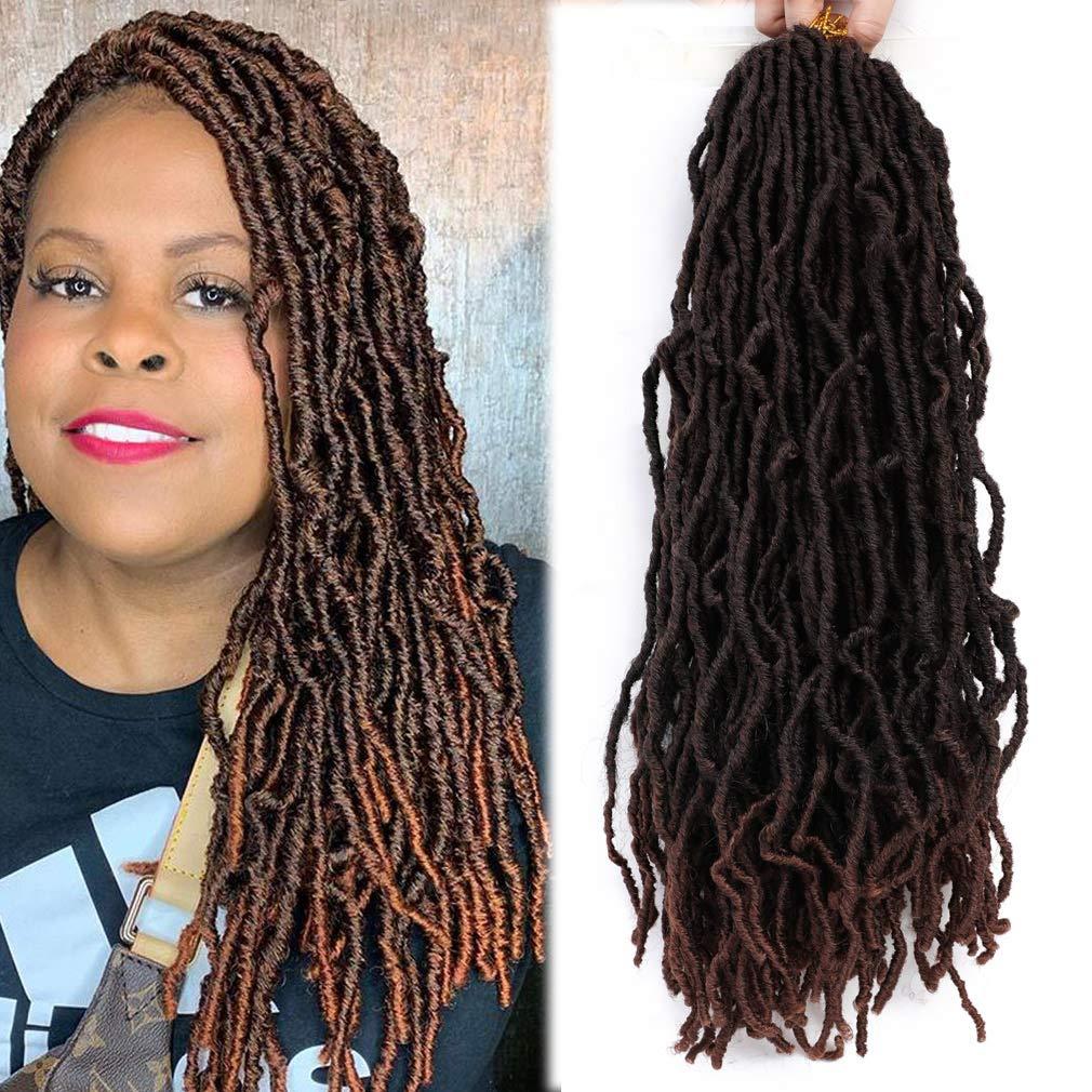 Nu Locs Crochet Hair 18 Inch Curly Wavy Ombre Goddess Locs Crochet Braids Hair 21 Roots Pre Looped Faux Locs Braids 3 Packs Nu Faux Locs Crochet Synthetic Braiding Hair for Black Women #T1B/30