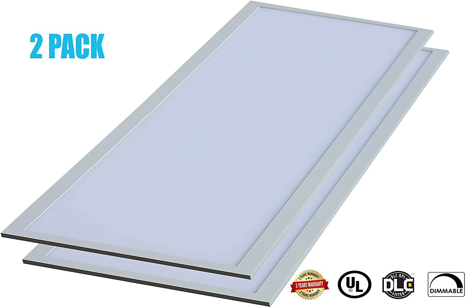 CANOPUS 2x4 FT LED Light Panel 0-10V Dimmable, Drop Ceiling Flat Lighting 50W, 3500K (Natural White), 4250 Lumens, Bright, 24x48 Inch Troffer Fixtures {Energy Star, UL-Listed} (Pack of 2)