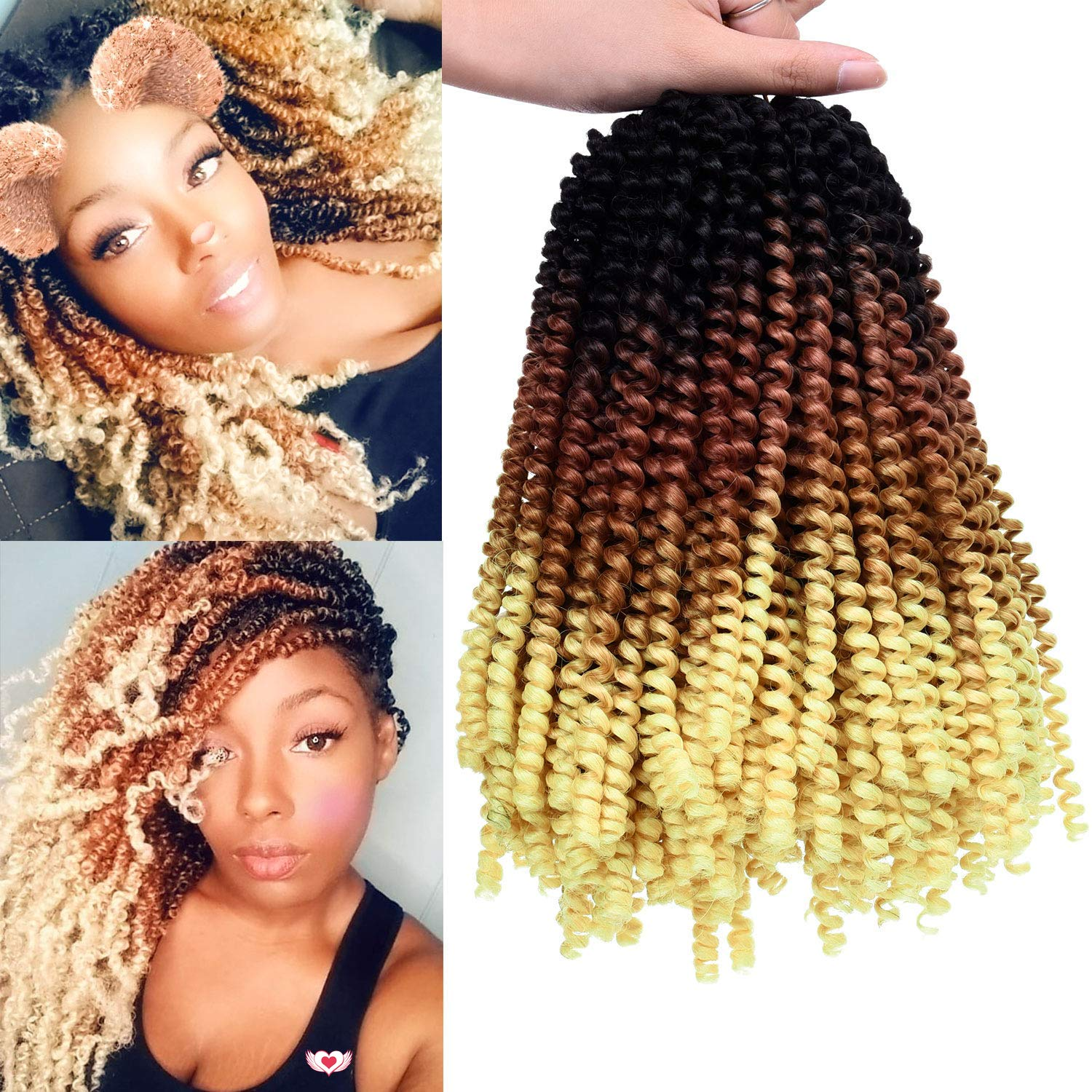 3 Pack Spring Twist Ombre Colors Crochet Braids 8 Fluffy Soft Synthetic Braiding Hair Extensions (T1B/Brown/Blond)