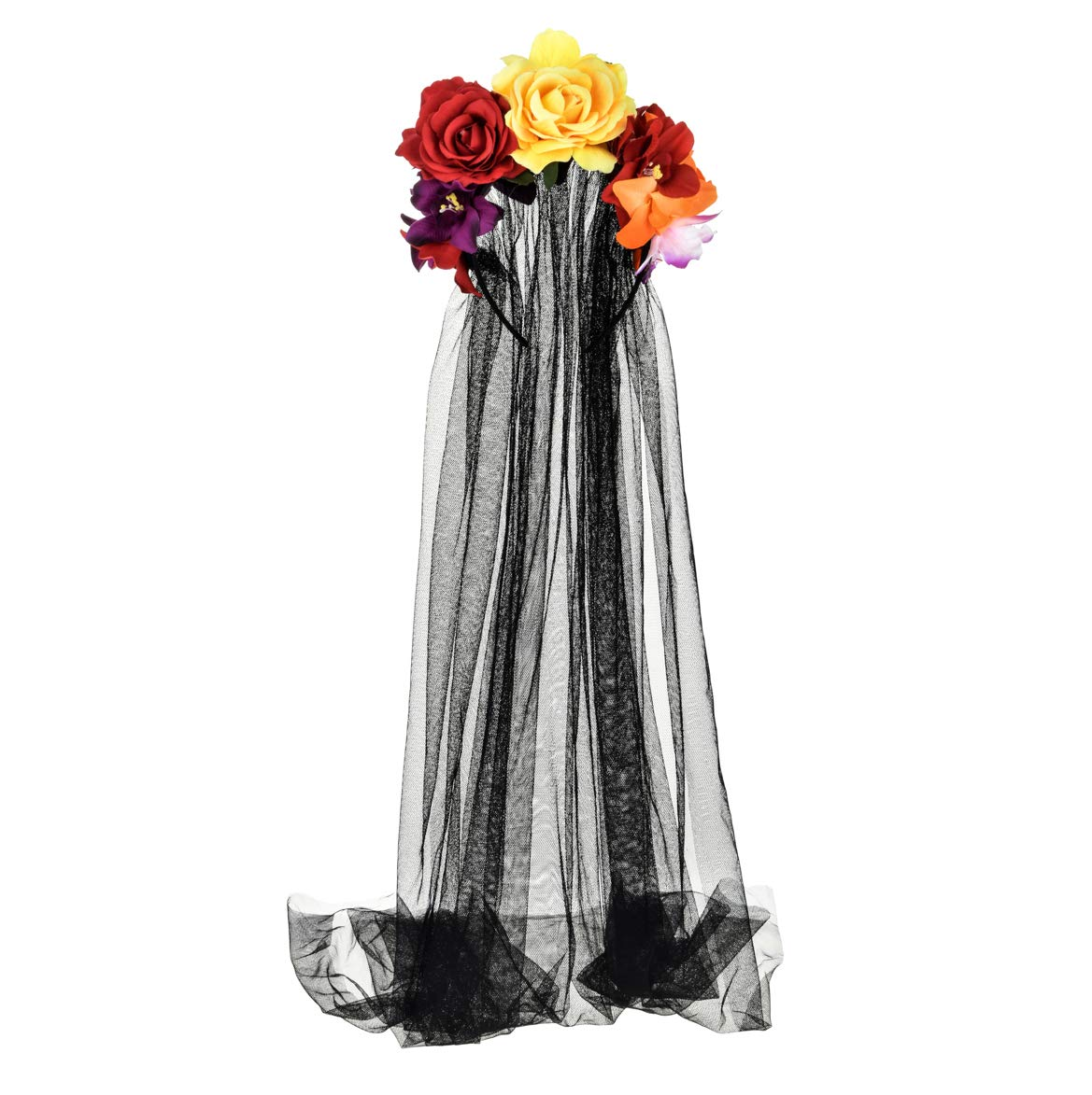 Funsveta Day of the Dead Headpiece Rose Floral Crown Lace Veil Halloween Costume Dress Up Accessory (Red and Yellow Rose Lily Flower)