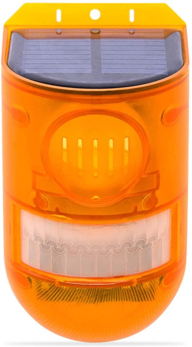 Solar Strobe Light with Motion Sensor, 129db Sound Security Siren Light, Waterproof IP65 Solar Flashing Alarm Light Lamp for Home, Farm, Yard, Villa (Full Day Mode + Night Mode, Orange)