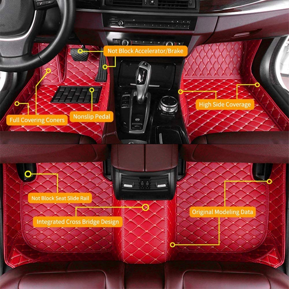 Custom Car Floor Mats for Volvo S40 2006-2012 Waterproof Anti-Skid Luxury Leather Full Coverage Liner Front & Rear Mat/Set (red)