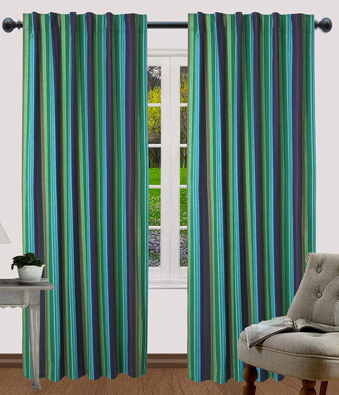 Salsa Stripe Curtains, Multi Color Panels, Décor Panel, Nursery Curtains, Farmhouse Curtains, Kitchen Curtains, Bathroom Curtains, Living Room Curtains-50x84 Inch -Teal Multi-Set of 2 Panels