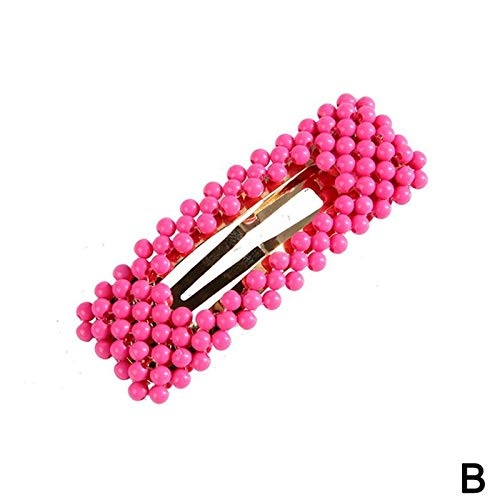 1x Candy Color Hollow Geometric Rectangle Waterdrop Hair Clips For Women Handmade Braided Plastic Beads Hair Accessories