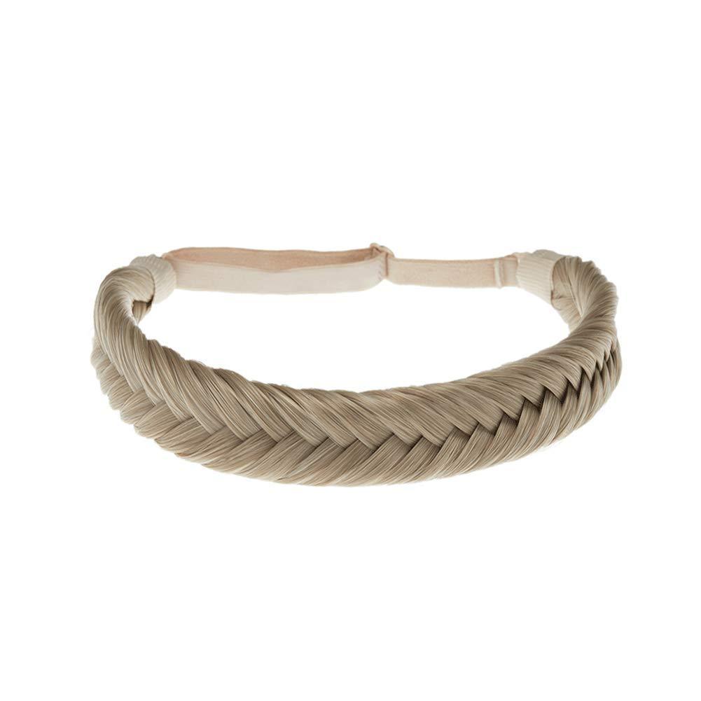 TOECWEGR Fishtail Hair Braid Headband 9 Strands Synthetic Classic Thick Braided Elastic Multicolor Shape Ladies Beauty headdress (color A07T)