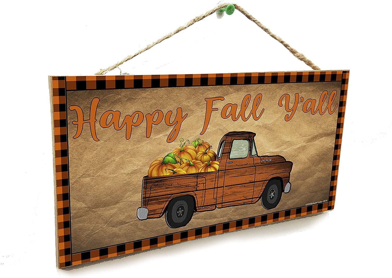 Blackwater Trading Happy Fall Y'all Rustic Truck Pumpkins Halloween Thanksgiving 5
