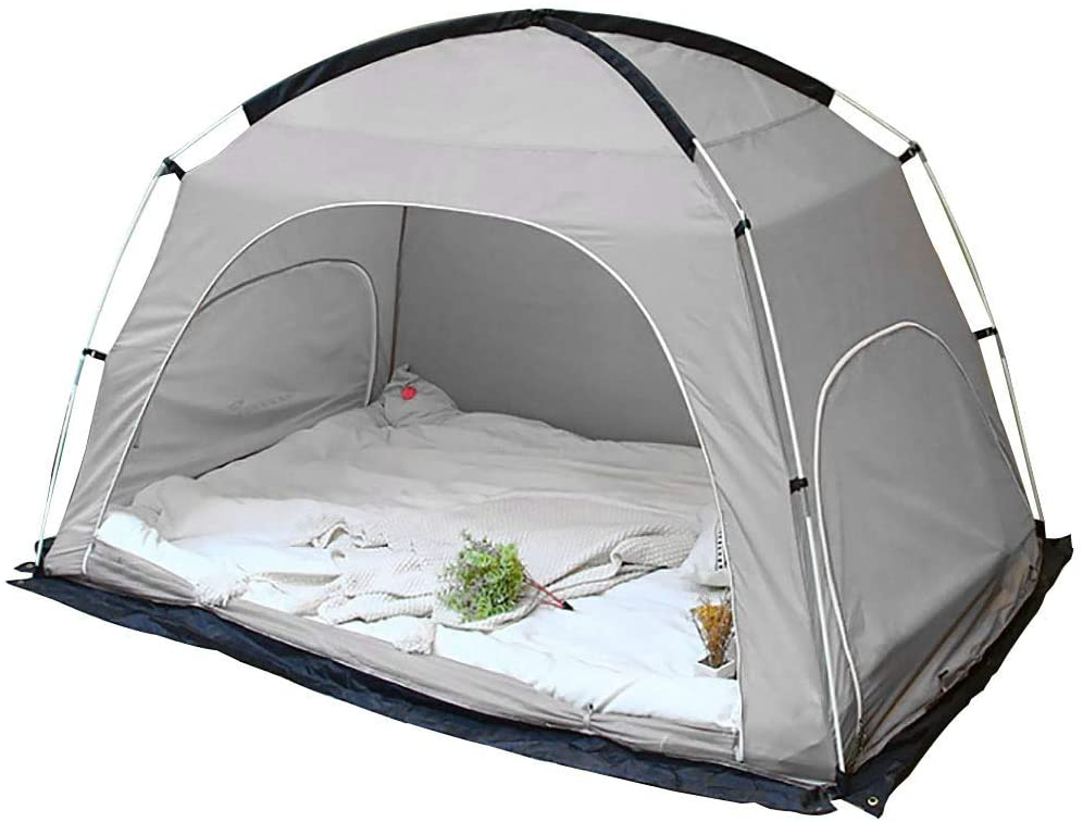 Likary Queen Size Bed Tent, Indoor Privacy Tent, Portable Pop Up Outdoor Tent, Cozy Sleep in Drafty Indoor Privacy Tent on Bed Dream Tent Keep Warm Play Tent for Adults and Kids (Grey)