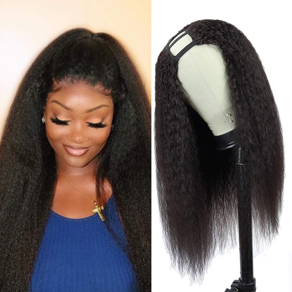 VSHOW U Part Human Hair Wigs for Black Women Kinky Straight 16 inch 150% Density 2