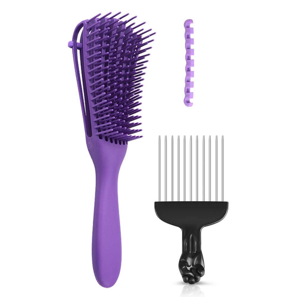 Anself Adjustable Hair Brush Scalp Massage Comb Black Fist Afro Pick Metal Wide Teeth Hair Comb Set Women Detangle Hairbrush Comb for Salon Hairdressing Styling