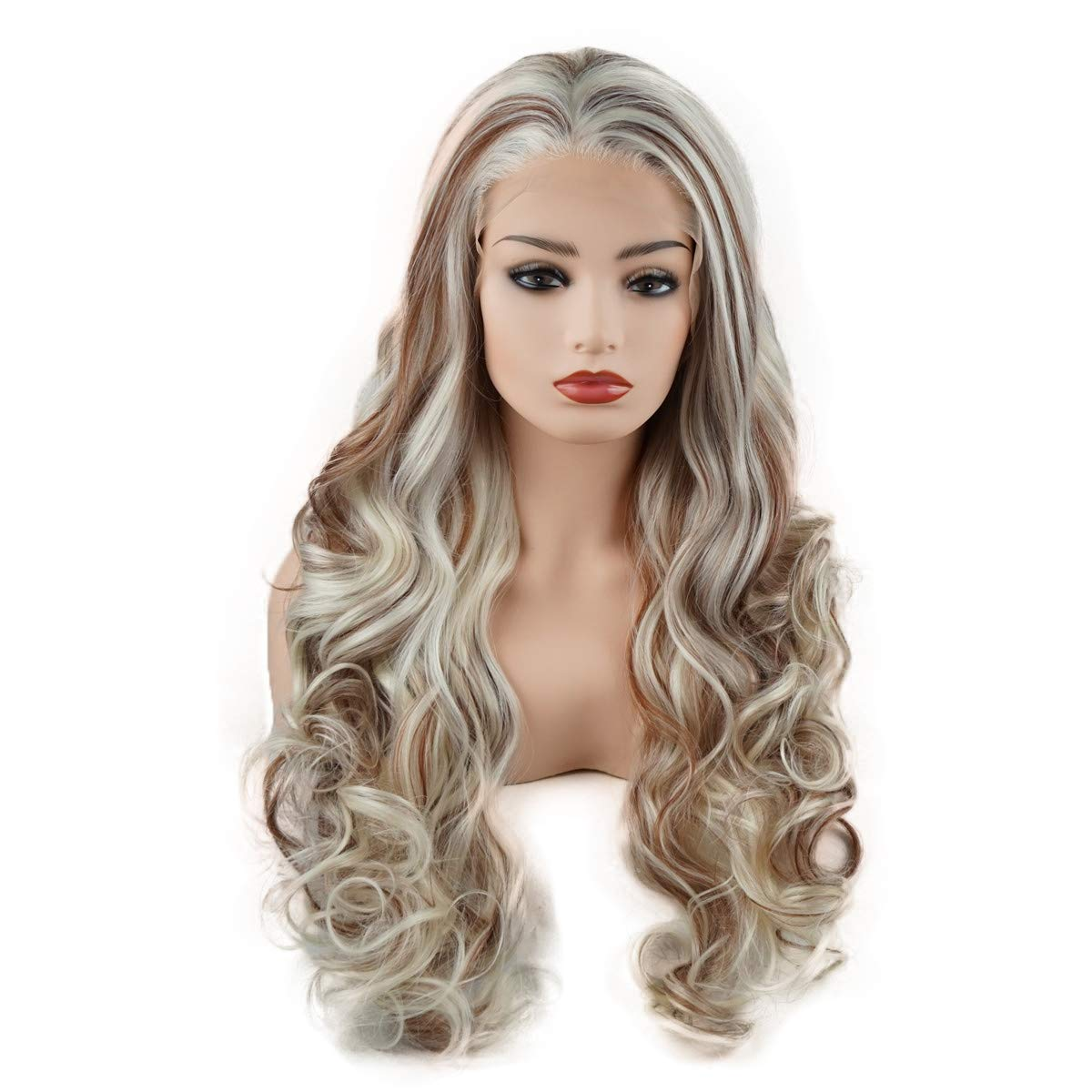 Meiyite Hair Wavy Long 26inch White and Blonde and Auburn Mix Half Hand Tied Realistic Synthetic Lace Front Wigs