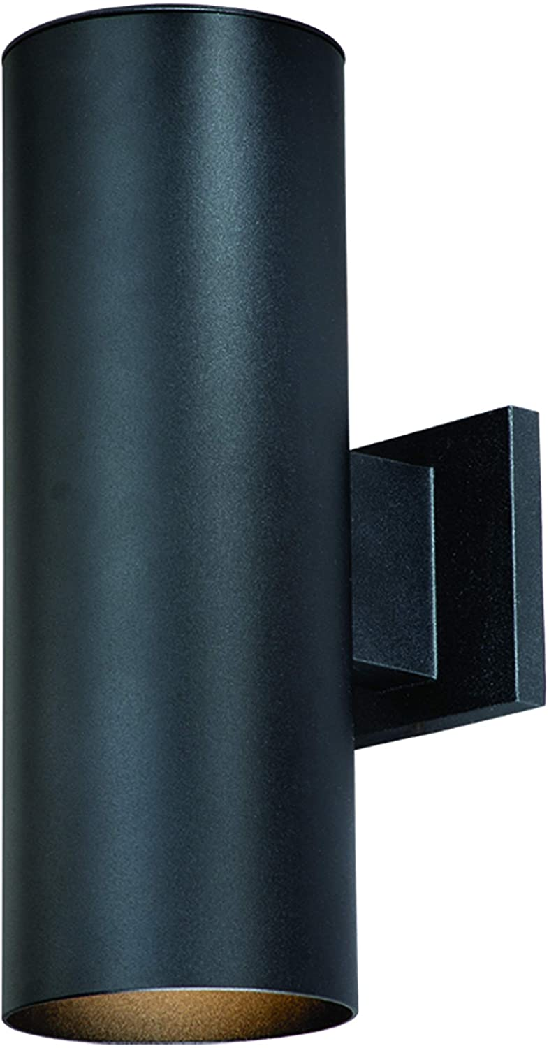 VAXCEL Modern Outdoor Porch Light - 2-Light Textured Black Aluminum Cylinder Wall Sconce, Waterproof Up and Down Light, Glass Cover, Exterior Wall Mount Lighting Fixture for Garage, Front Door, Patio