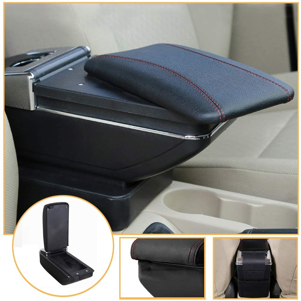 Muchkey car Center Console Cover for Suzuki SX4 2006-2018 Single Layer, Relatively Thin PU Leather car armrest Cover, Black