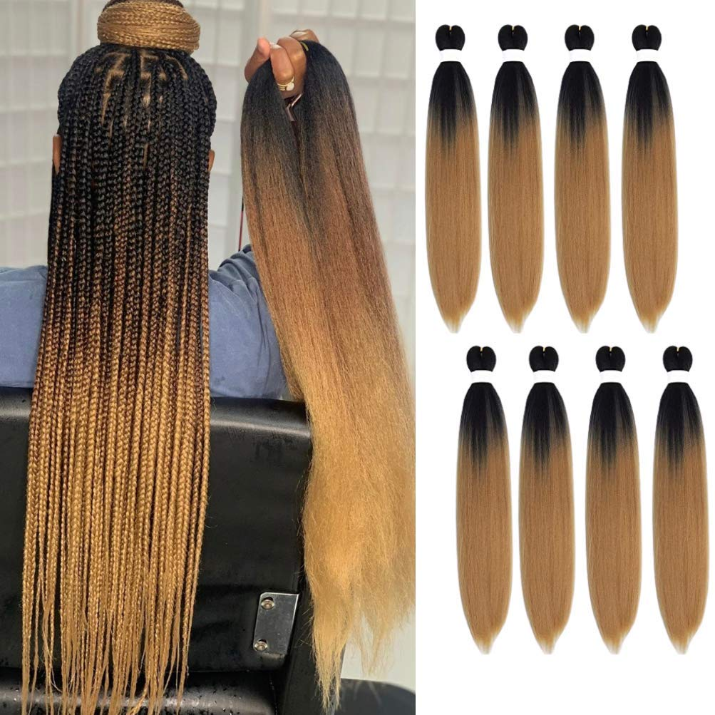 Ombre Pre-stretched Braiding Hair- Brown Easy Braiding Hair Hot Water Setting Synthetic Fiber Crochet Hair Extension 24 Inch 8 Packs