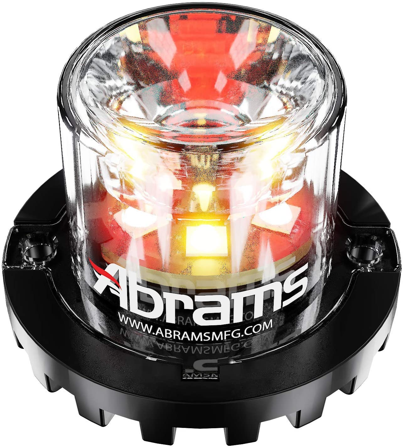 Abrams SAE Class-1 Blaster 360 (Amber/Red) 18W - 6 LED Emergency Vehicle Truck LED Hideaway Surface Mount Strobe Warning Light