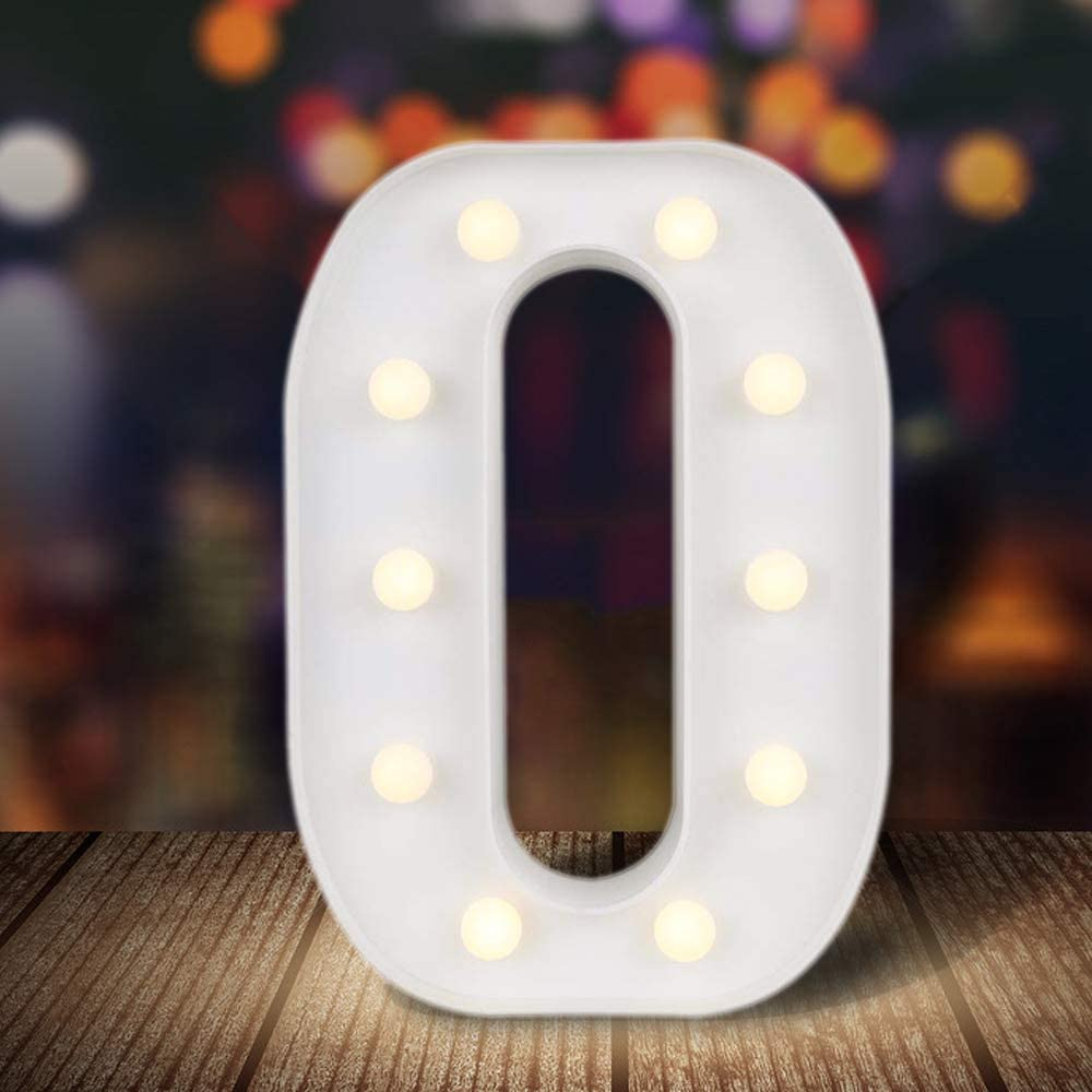 ODISTAR LED Light Up Marquee Letters, Battery Powered Sign Letter 26 Alphabet with Lights for Wedding Engagement Birthday Party Table Decoration bar Christmas Night Home,9'', White(O)