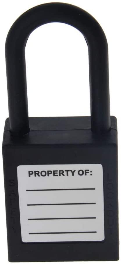 MroMax 1Pcs Lockout Lock 38mm Insulation Nylon Safety Padlock to Protect Property Room Diary Jewelry Box Keyed Different Black