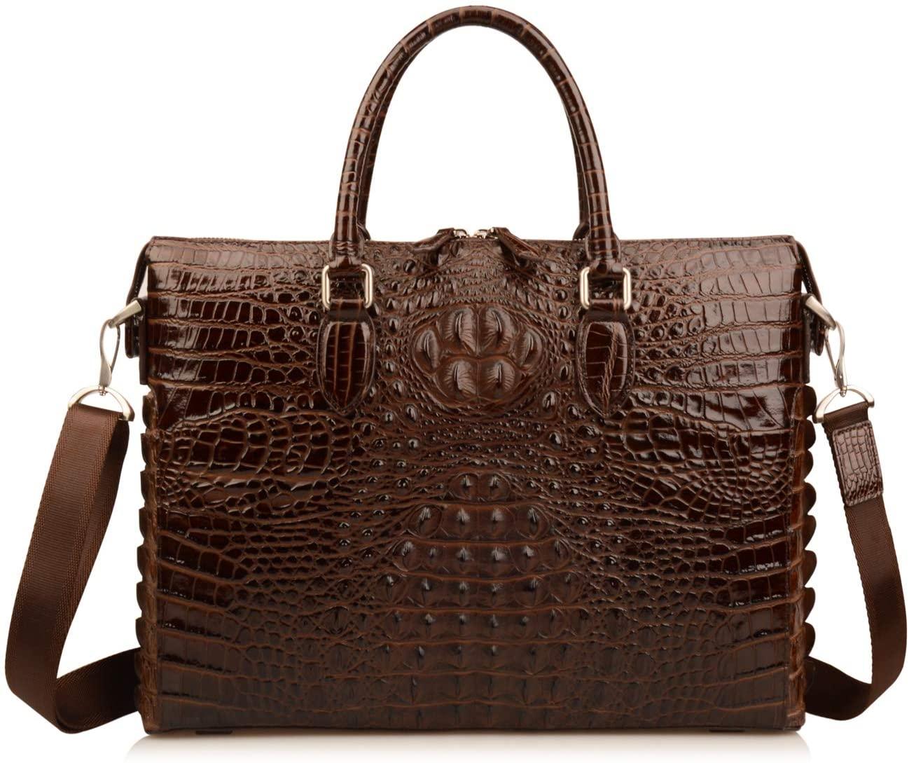 Ainifeel Mens Crocodile Embossed Genuine Leather Briefcase 15.5 Laptop Bag Handbags For Business (Coffee)