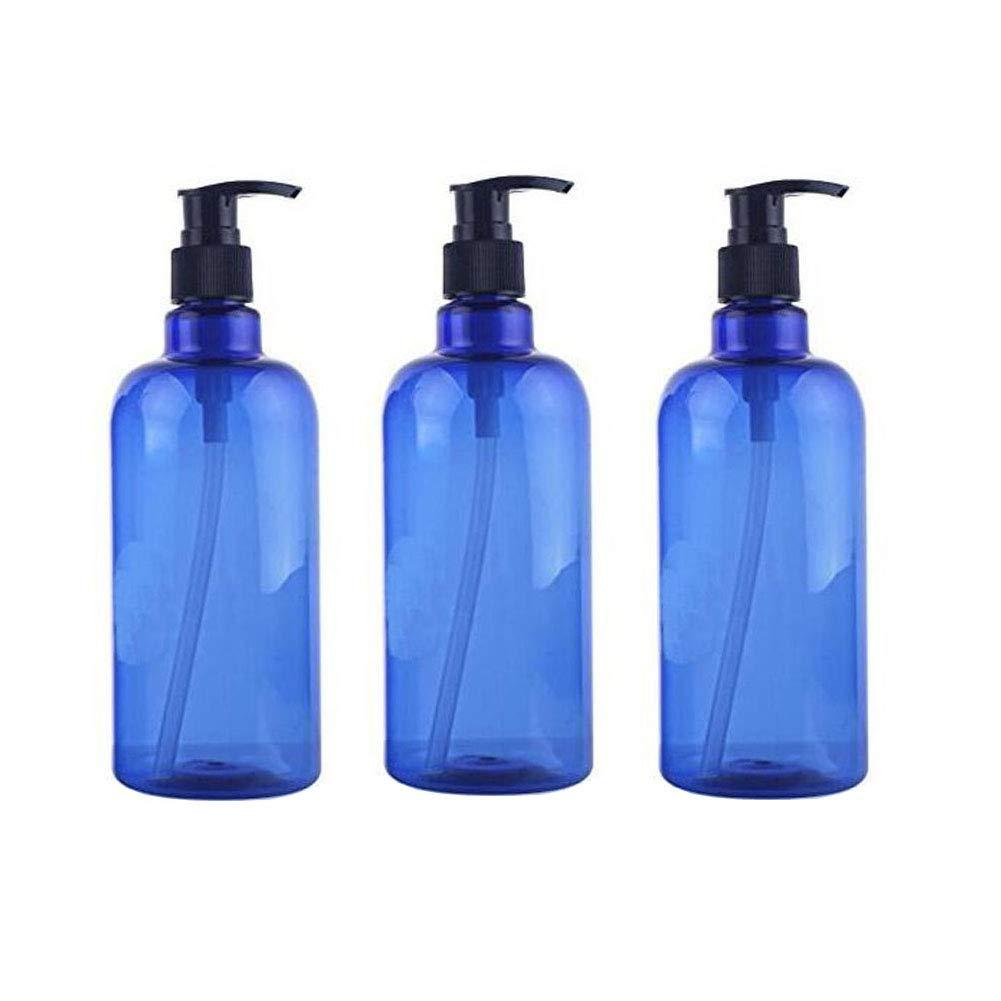 3 Pcs 17oz(500ml) Blue Plastic Pump Bottle Large Capacity Refillable Empty Bottle Pot Pump Lotion Dispenser Travel Toiletry Storage Containers for Lotion Emulsion Shampoo Shower Gel