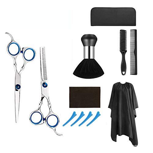 Smartillumi 12PCS Professional Hair Cutting Scissors Set Hair Cutting Scissors, Thinning Shears, Hair Razor Comb, Clips, Cape, Hairdressing Scissors Kit,Barber set,Hair Cutting Shears Set