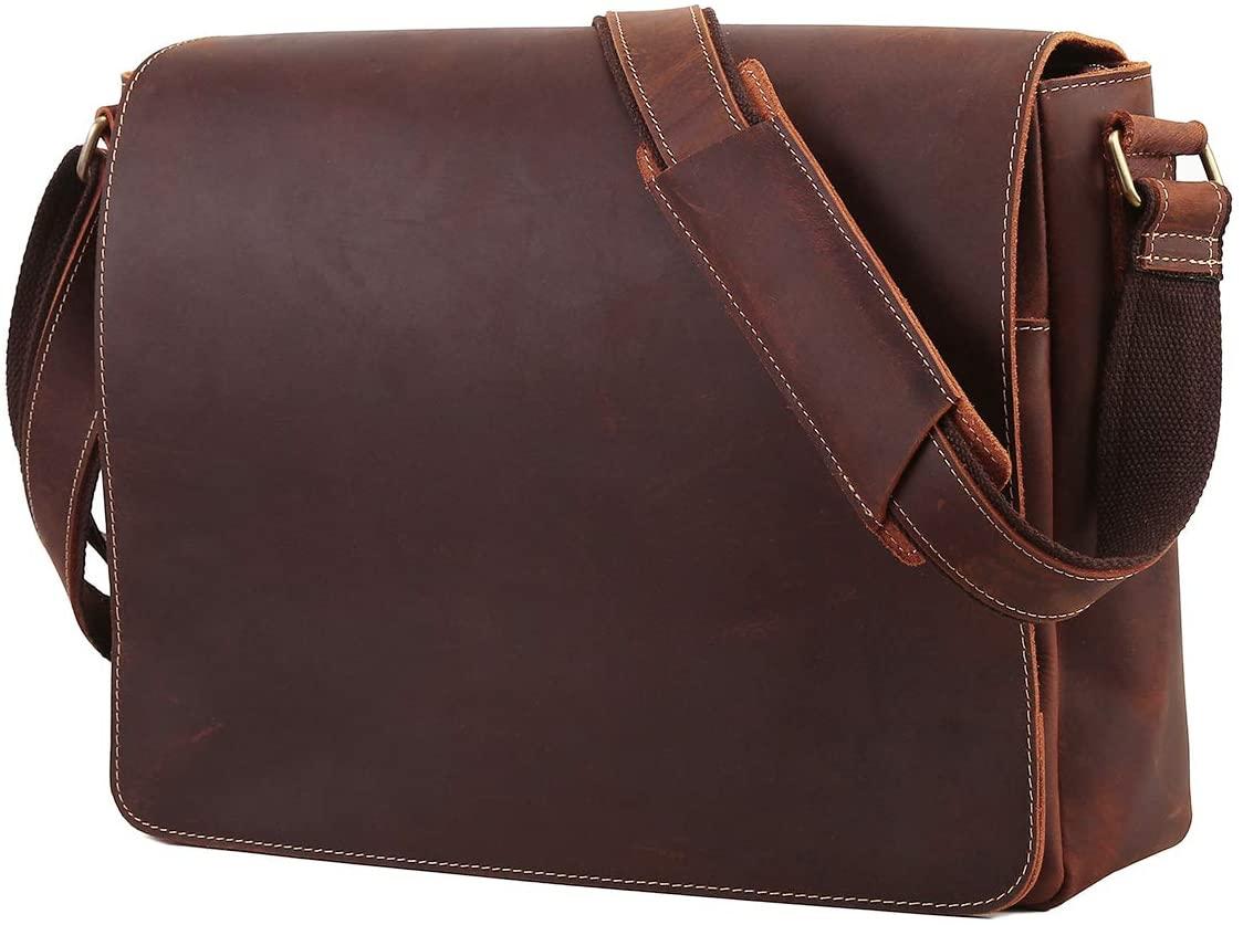 Leathario Men Messenger Bag Genuine Leather 14