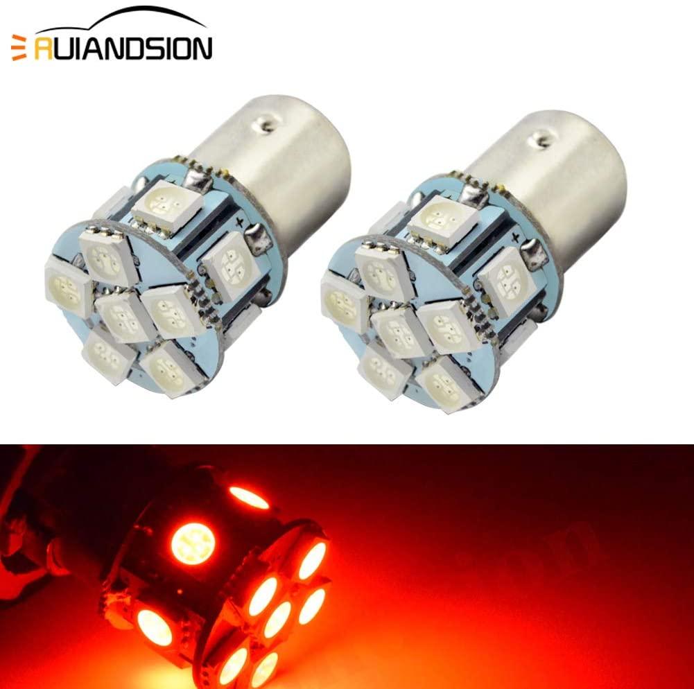 Ruiandsion 2pcs 12V 1156 BA15S LED Bulbs Super Bright 5050 12SMD Red LED Lamp for Back Up Reverse Lights Turn Signal Light,Non-polarity