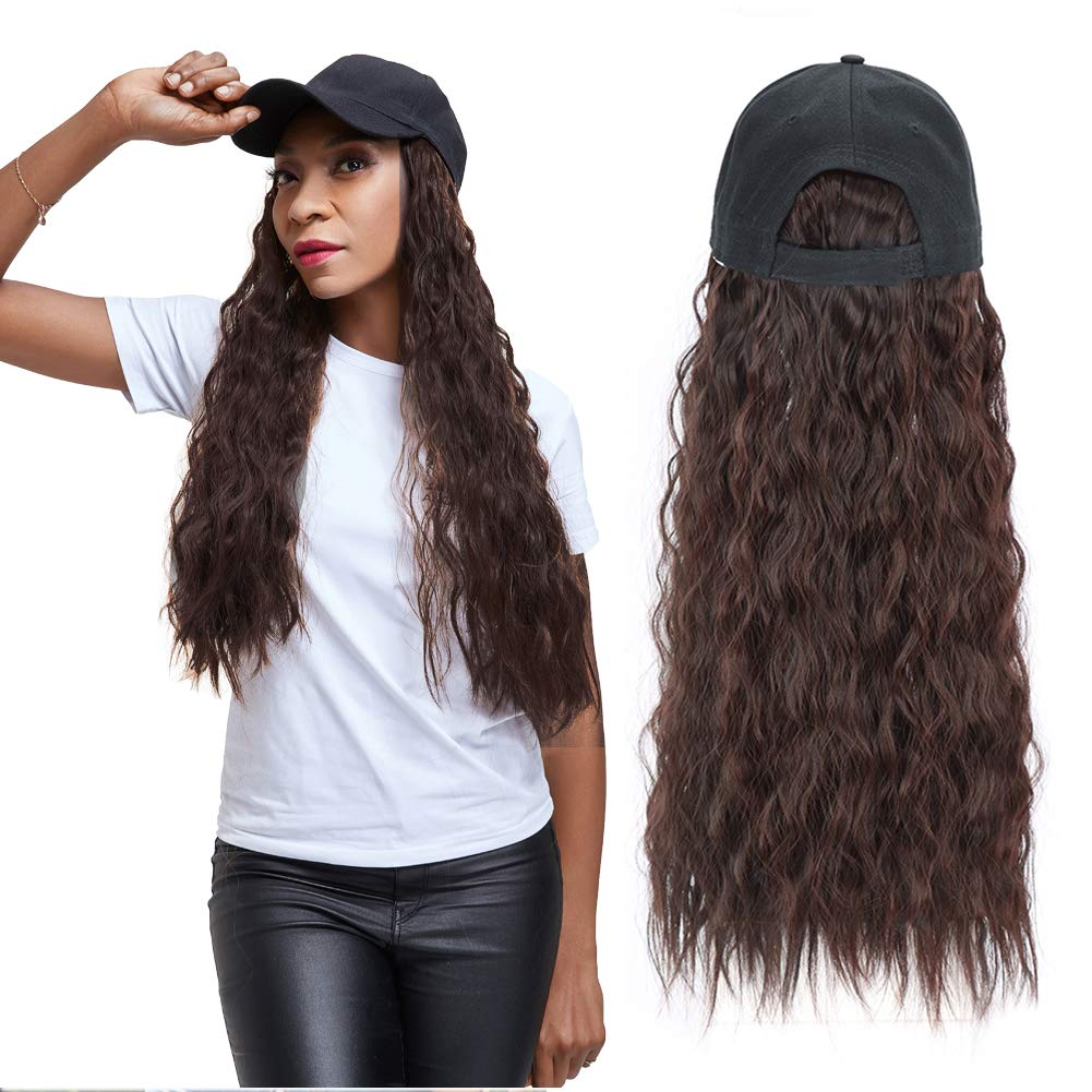 Long Wave Wig with Hat, Adjustable Baseball Cap with Synthetic Hair Extensions Long Wavy Hairpieces Wig Hat for Black Women (Dark Brown)