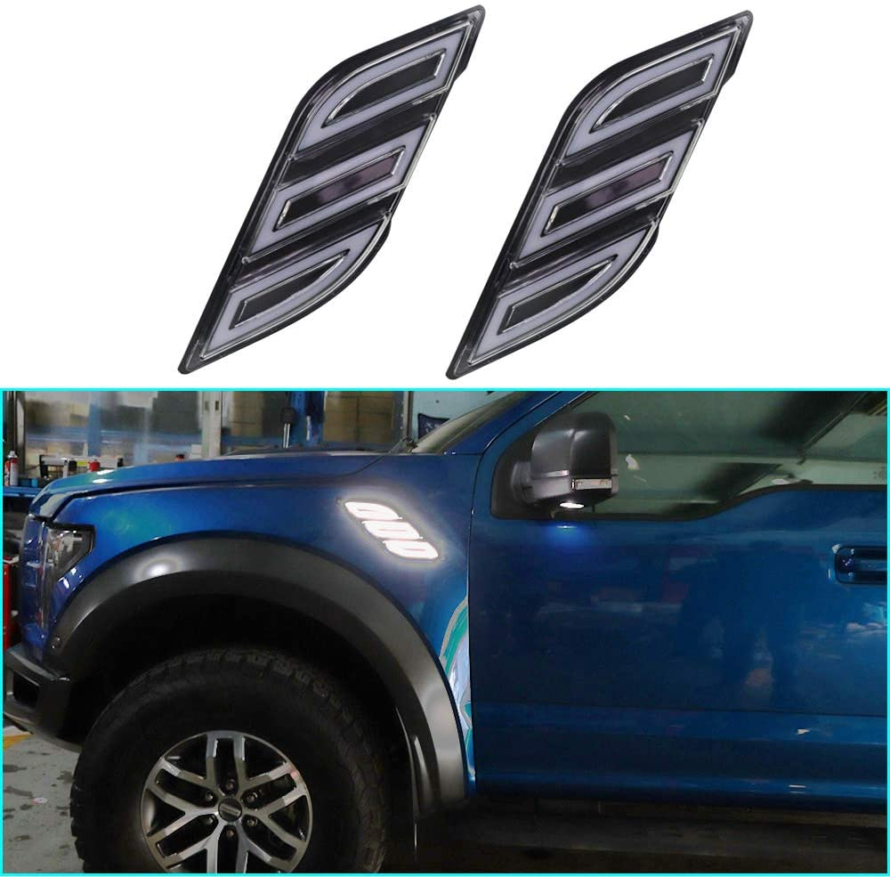 Super Bright LED Daytime Running Light Dual Color DRL for Ford F-150 SuperCab 2017-2018 Replacement Front Bumper Fog Lamp Assembly Fender Lamp-type Model B 1 pair(Front L/R)