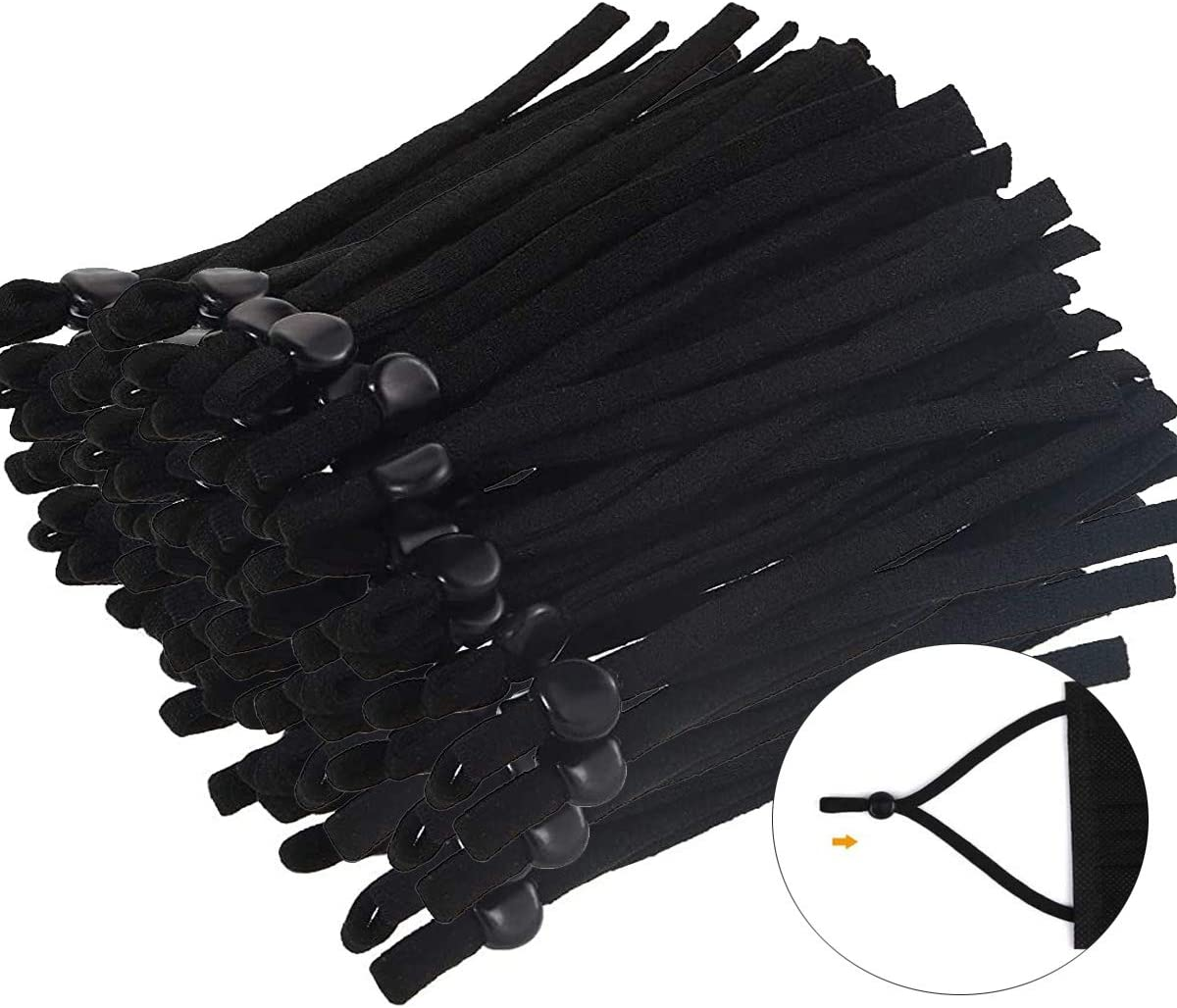 Elastic Bands 100 Pcs for Sewing Face Cover, 1/5 inch Black Cord with Adjustable Buckle, Soft and Stretchy Sewing Elastic String Comfortable, Suit for Kids and Adults