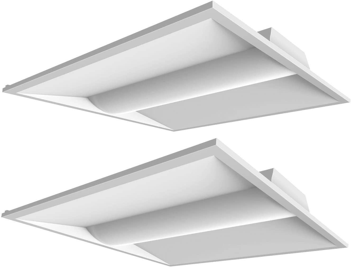 2PCS 2x2 FT LED Troffer 26W Light Fixture for Office Hospital 3250LM 4000K 0-10v Dim DLC UL Listed, 50,000 Life Hours (26W 4000K, 2x2 FT)