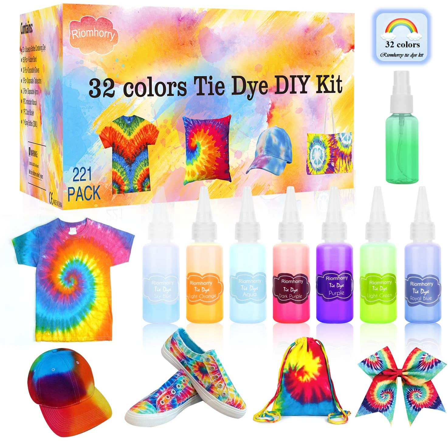 Riomhorry Tie Dye Kit, 32 Colors Tie Dye Party Kit for Kids, Women, Fabric Dye with Gloves, Aprons, Rubber Bands and Plastic Table Covers